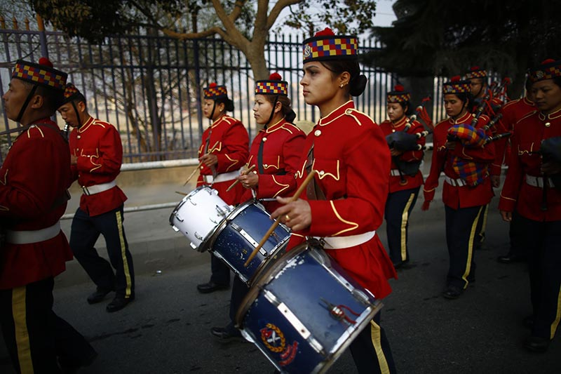 Women band members of Nepal Army play instruments while marching in a rally held to mark the 108th International Women's Day organised by the Ministry of Women, Children and Social Welfare in Kathmandu, on Thursday, March 8, 2018. Photo: Skanda Gautam/THT