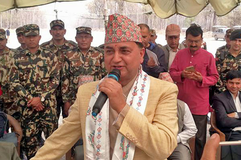 Minister for Defence Ishowar Pokharel speaks after inspecting fast track project in Bara, on Thursday, March 22, 2018. Photo: Puspa Raj Khatiwada