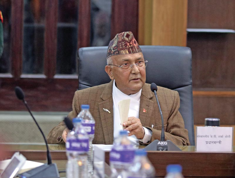 Prime Minister KP Sharma Oli issuing instructions to secretaries and chiefs of security agencies, in Kathmandu, on Sunday, March 18, 2018. Photo: THT