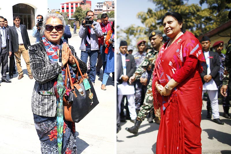 In this combo image, Nepali Congress candidate Kumari Laxmi Rai (left) on the way to file her nomination for the presidential poll and President Bidya Devi Bhandari speaks to media persons after registering her candidacy,  at Federal Parliament in Kathmandu, on Wednesday, March 07, 2018. Photo: Skanda Gautam/THT
