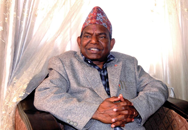 Minister for Federal Affairs, Local Development and General Administration Lal Babu Pandit at his official residence in Pulchowk, Lalitpur, on Monday, March 26, 2018. Photo: THT