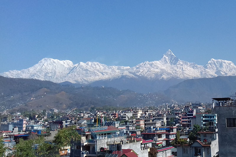 A spectacular view of Mt Machapuchare mountain range seem from Pokhara, on Friday, March 16, 2018. Photo: RSS