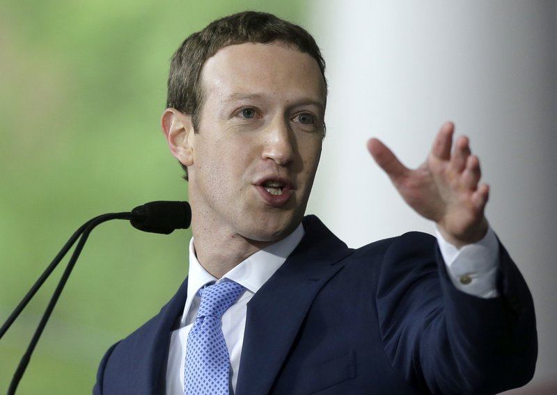File - Facebook CEO Mark Zuckerberg delivers the commencement address at Harvard University in Cambridge, Mass. on May 25, 2017. Photo: AP