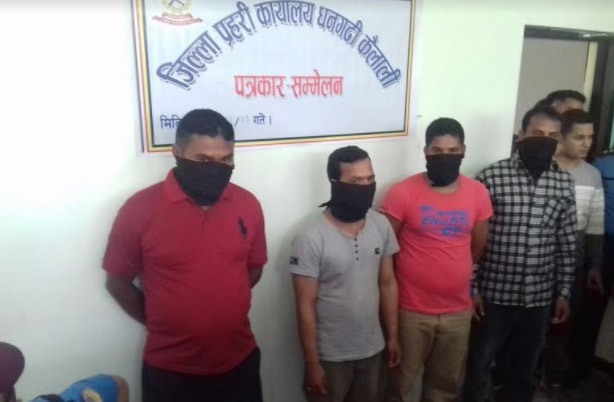 CPN Maoist (Chand) Cadres held on accusation of assaulting Ghodaghodi Mayor Mamata Prasad Chaudhary, in Dhangadhi, on Thursday, March 15, 2018. Photo: Tekendra Deuba