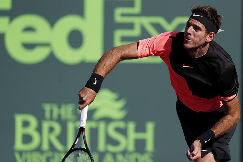 Juan Martin del Potro of Argentina serves against Kei Nishikori of Japan (not pictured) on day six of the Miami Open at Tennis Center at Crandon Par, in Key Biscayne, Florida, USA, on March 25, 2018. Photo: Geoff Burke-USA TODAY Sports via Reuters
