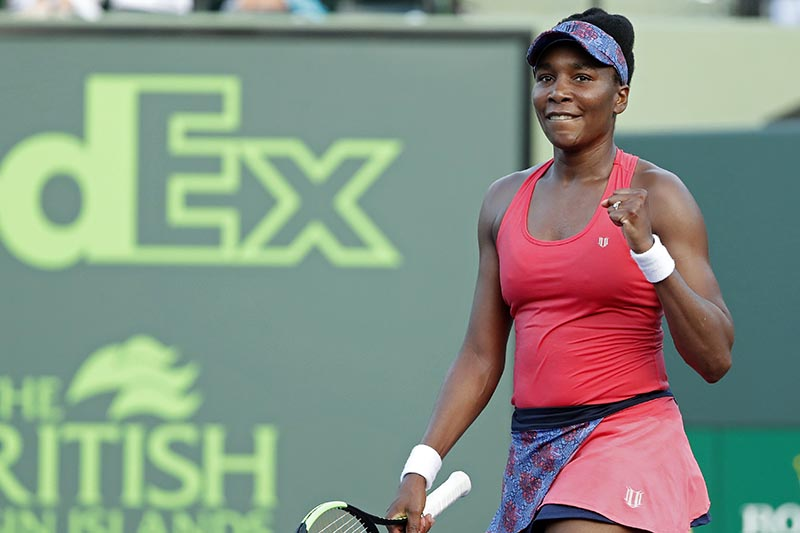 Venus Williams of the United States celebrates after match point against Johanna Konta of Great Britain (not pictured) on day seven of the Miami Open at Tennis Center at Crandon Park, in Key Biscayne, Florida, USA, on March 26, 2018. Photo: Geoff Burke-USA TODAY Sports via Reuters
