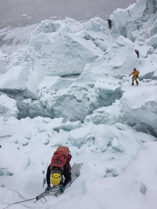 In this undated photo, climbers are seen ascending the Mt Everest above the base camp. Photo Courtesy: Mingma G Sherpa/ Imagine Trek& Expedition