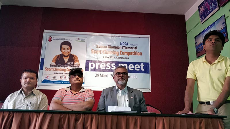 NCSA General Secretary Megha Raj Poudyal (right) speaks as President Hari Prasad Dharel looks on during a press meet in Kathmandu.
