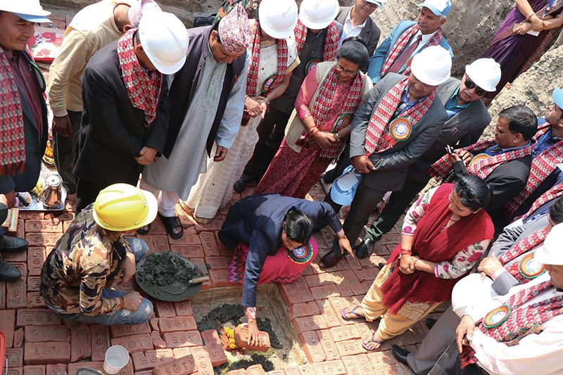 Minister of State for Health Padma Kumari Aryal laying the foundation stone for the construction of National Chest Disease Hospital, in Bhaktapur, on Saturday.