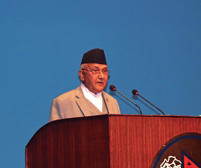 Prime Minister KP Sharma Oli addressing a meeting of the House of Representatives. Photo: THT