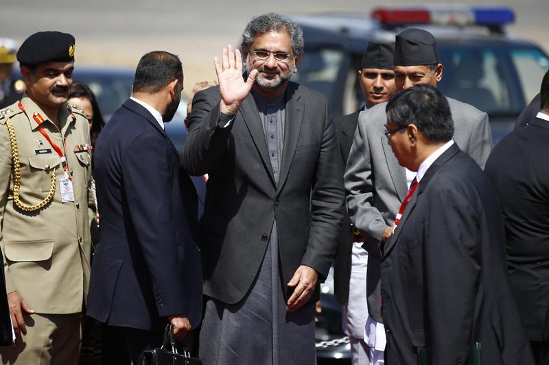 Pakistani Prime Minister Shahid Khaqan Abbasi gestures before his departure, at Tribhuvan International Airport, in Kathmandu, on Tuesday, March 6, 2018. Photo: Skanda Gautam
