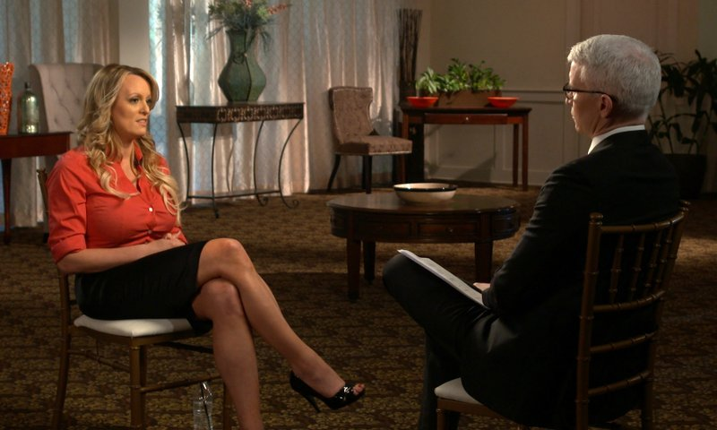 File - This image released by CBS News shows Stormy Daniels, left, during an interview with Anderson Cooper which will air on Sunday, March 25, 2018, on u201c60 Minutes.u201d Photo: AP