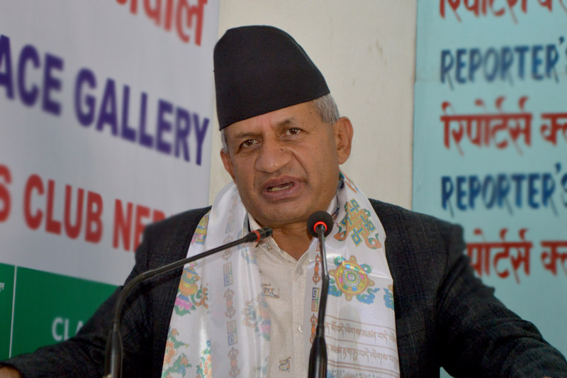 Minister for Foreign Affairs Pradeep Kumar Gyawali speaks at an interation programme organised in teh Capital, on Saturday, March 17, 2018. Photo: Reporter's Club
