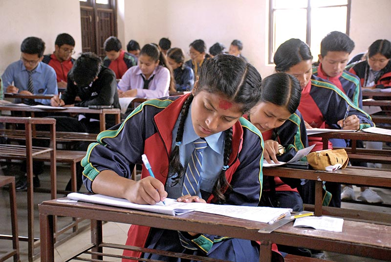 FILE - Students taking Secondary Education Examination at a school in Patan Dhoka, Lalitpur, on Thursday. Photo: THT