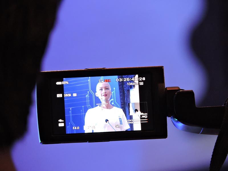 Sophia, captured through a video camera screen lens at the United Nations innovation conference in Kathmandu, Nepal, on March 21, 2018. Photo: Sandeep Sen/THTOnline