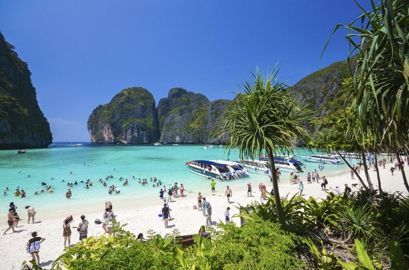 File - In this photo, tourists enjoy the popular Maya bay on Phi Phi island, Krabi province on March 4, 2017. Photo: AP