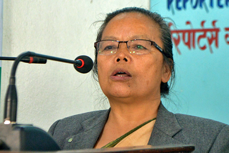 Minister for Women, Children and Social Welfare Tham Maya Thapa speaks at a programme organised to mark the 108th International Women's Day in kathmandu, on Thursday, March 08, 2018. Courtesy: Reporters Club