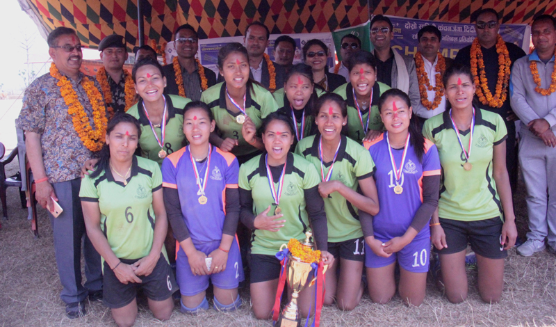 Nepal APF Club players and officials celebrate after winning the second Didibahini Cup in Parbat on Thursday. Photo: THT