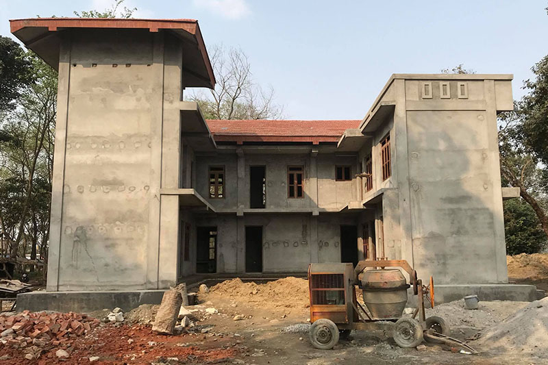 An under-construction wildlife hospital in Sauraha of Chitwan district, on Tuesday, March 06, 2018. Photo: Tilak Ram Rimal