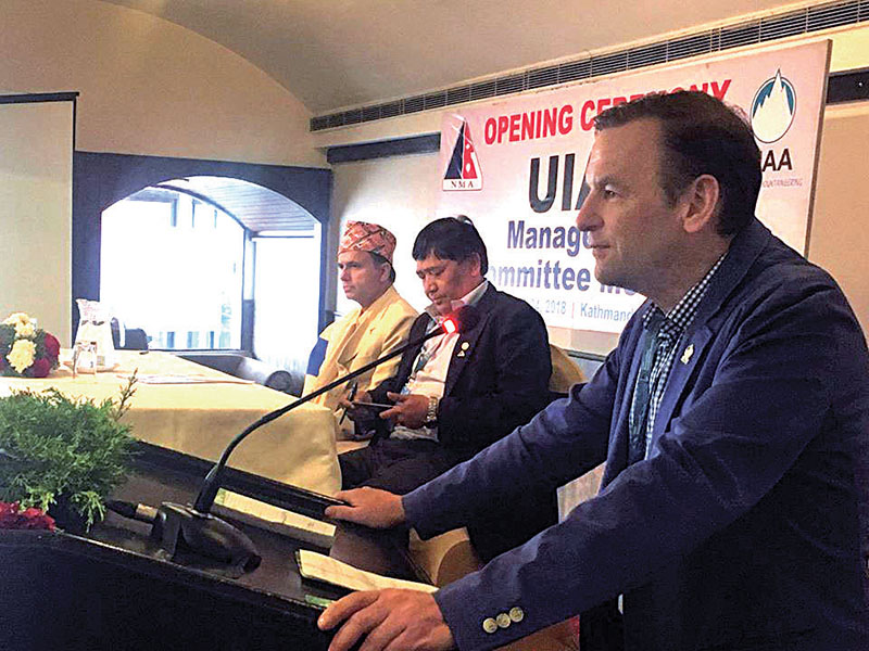 Participants attending the inaugural session of the management committee of UIAA, the World Mountaineering and Climbing Federation, in Kathmandu, on Friday. Photo: THT