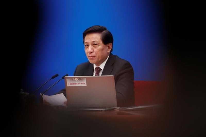 Zhang Yesui, a spokesman for National People's Congress (NPC), addresses reporters ahead of China's annual session of parliament at the Great Hall of the People in Beijing, China March 4, 2018. Photo: Reuters