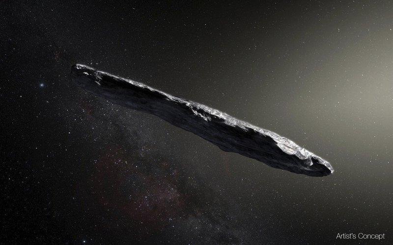 File - This artistu2019s rendering shows the first interstellar asteroid: u2019Oumuamua. Photo: AP