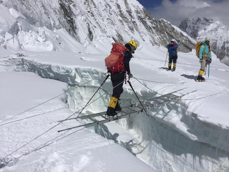 Climbers on the Mt Everest region are seen ascending the mountain, in this undated photo. Courtesy: Mingma G Sherpa/ Imagine Trek  & Expedition