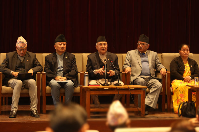 Prime Minister KP Sharma Oli, along with CPN Maoist Centre Chair Pushpa Kamal Dahal and Speaker Onsari Gharti among others, addresses the federal parliament training programme organised in New Baneshwor, Kathmandu, on Saturday, March 03, 2018. Photo: RSS