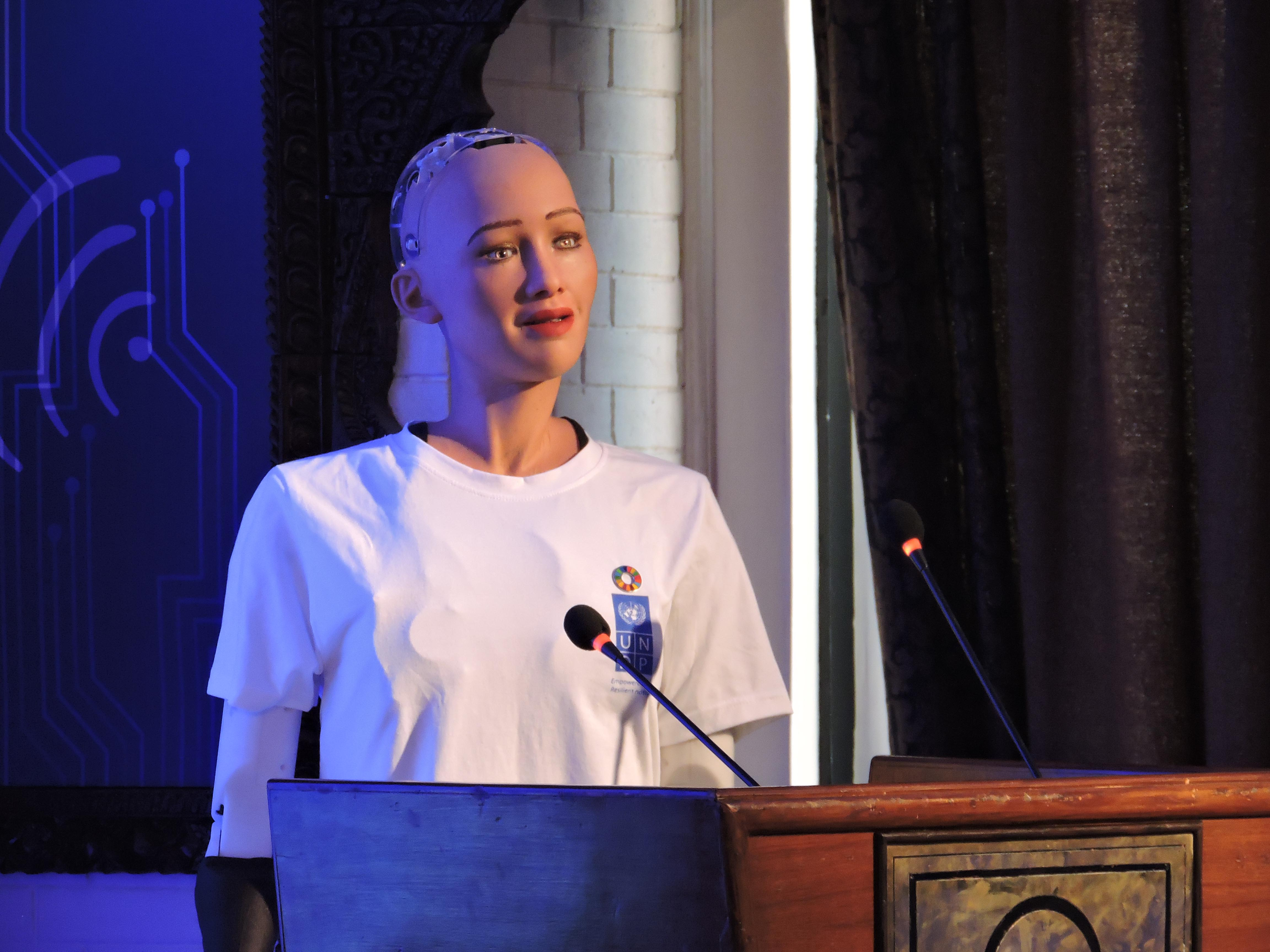 Sophia, a humanoid robot with Saudi Arabian citizenship, speaks during the United Nations innovation conference in Kathmandu, Nepal, on Wednesday, March 21, 2018. Photo: Sandeep Sen/ THT Online