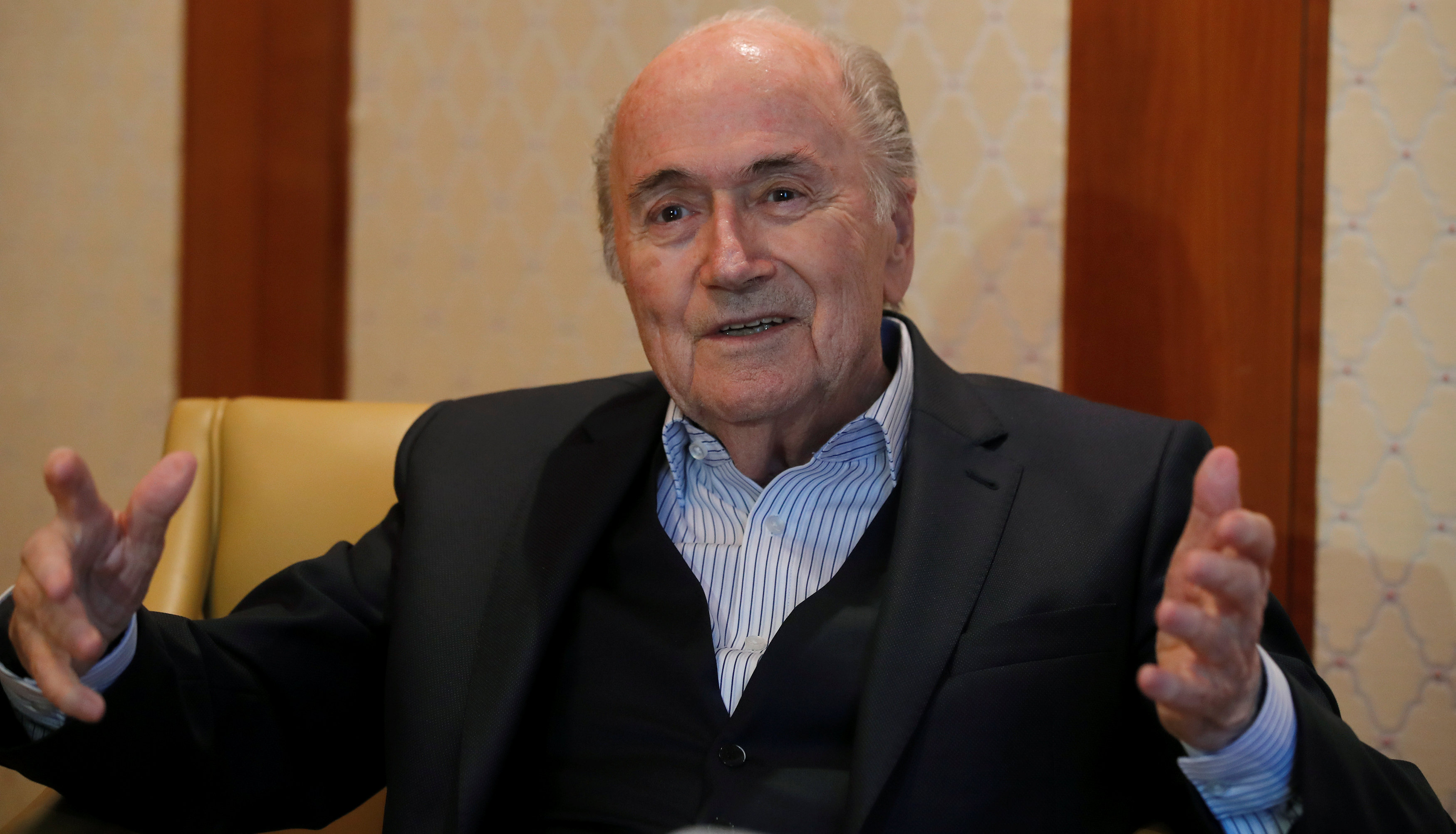 Former FIFA President Sepp Blatter gestures during an interview with Reuters in Zurich, Switzerland April 10, 2018. Picture taken April 10, 2018. Photo: REUTERS