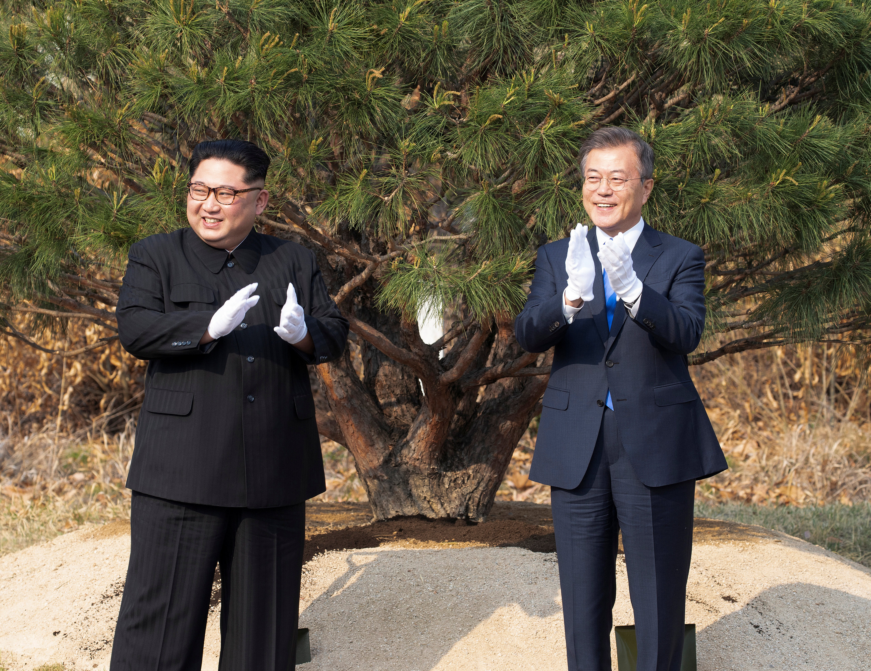 South Korean President Moon Jae-in and North Korean leader Kim Jong Un applaud after planting a tree at the truce village of Panmunjom inside the demilitarized zone separating the two Koreas, South Korea, April 27, 2018.   Korea Summit Press Pool/Pool via Reuters