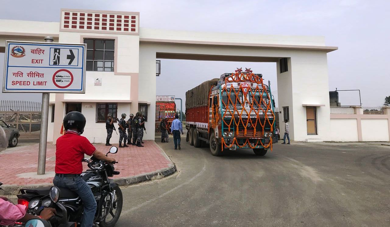 FILE: A truck hauling goods enters Nepal through the Nepal-India Integrated Check Post in Birgunj following the joint remote-inauguration by PM KP Oli and his Indian counterpart Narendra Modi, on Saturday, April 07, 2018. Photo: Ram Sarraf