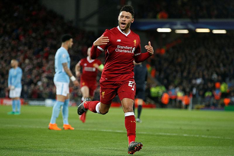 Liverpool's Alex Oxlade-Chamberlain celebrates scoring their second goal. Photo: Reuters
