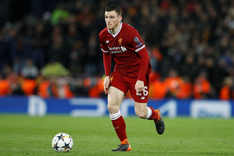 Liverpool's Andrew Robertson in action. Photo: Reuters