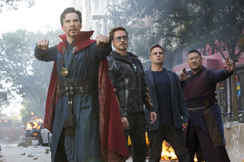 This image released by Marvel Studios shows, from left, Benedict Cumberbatch, Robert Downey Jr., Mark Ruffalo and Benedict Wong in a scene from u201cAvengers: Infinity War.u201d Photo: AP