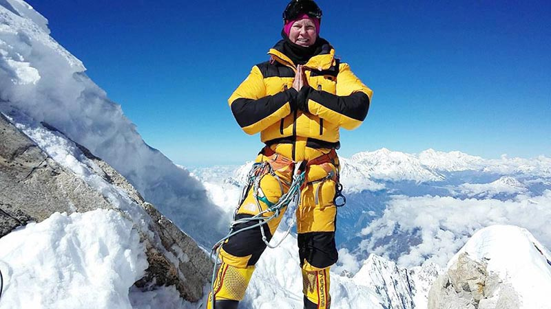 In this undated image Swedish mountaineer Carina Ahlqvist poses for a photo. Ahlqvist has collaborated with the NASA and the European Space Agency to attempt to climb Mt Makalu (8,481 m), the fifth highest mountain this season to contribute to the space agenciesu2019 research in climate change. Photo: Carina Ahlqvist Facebook