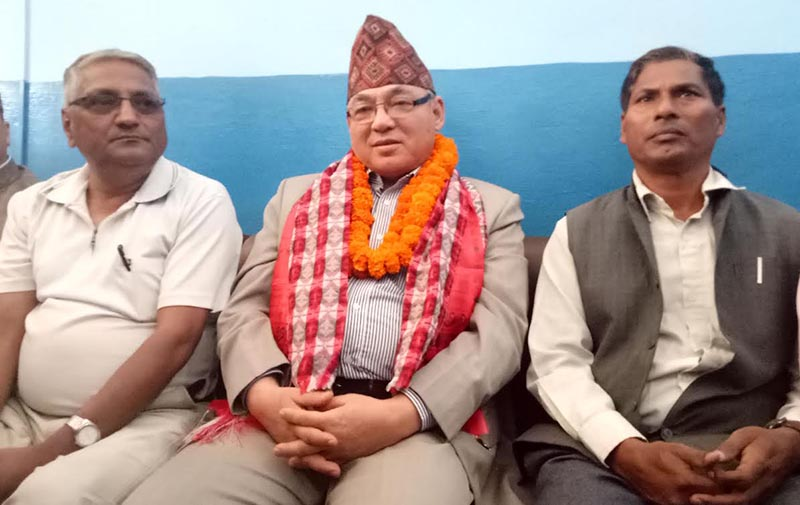 Home Minister Ram Bahadur Thapa speaking to mediapersons at a press meet in Bharatpur airport, in Chitwan, on Monday, April 23, 2018. Photo: THT