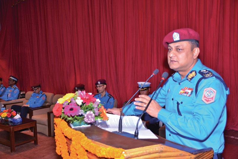 Inspector General of Police Sarbendra Khanal addressing a programme in Kathmandu, on Sunday, April 16, 2018. Photo: THT