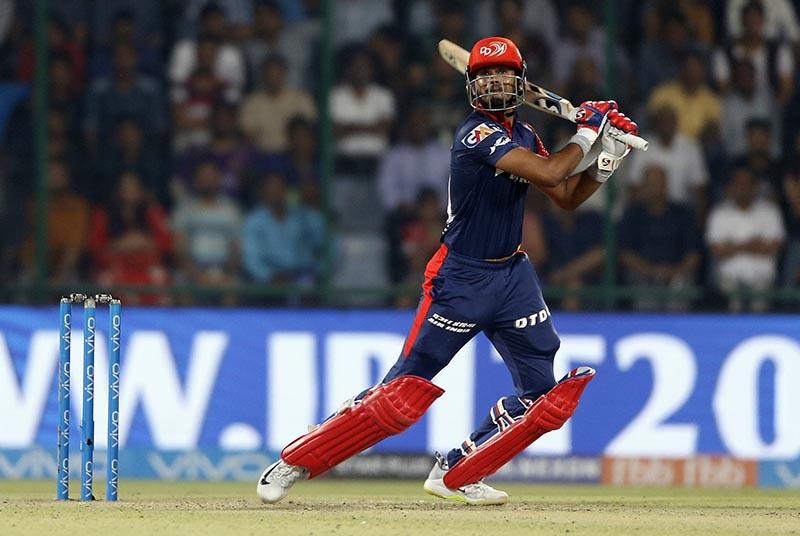 Delhi Daredevils' Shreyas Iyer watches his shot during VIVO IPL cricket T20 match against Kolkata Night Riders in New Delhi, India, on Friday, April 27, 2018. Photo: AP