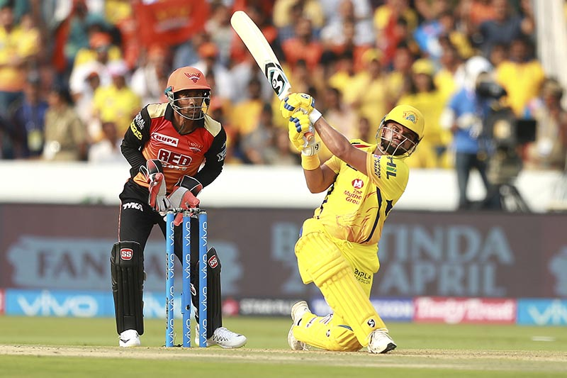 Chennai Super Kings player Suresh Raina bats during VIVO IPL cricket T20 match against Sunrisers Hyderabad in Hyderabad, India, on Sunday, April 22, 2018. Photo: AP