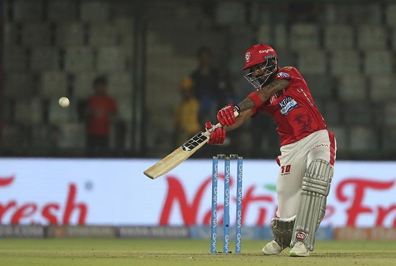 Kings XI Punjab's K L Rahul plays a shot during the VIVO IPL Twenty20 cricket match against Delhi Daredevils in New Delhi, India, on Monday, April 23, 2018. Photo: AP