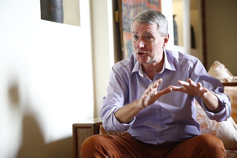John Wood speaks during an interview in Kathmandu on Wednesday, April 25, 2018. Photo: Skanda Gautam/THT