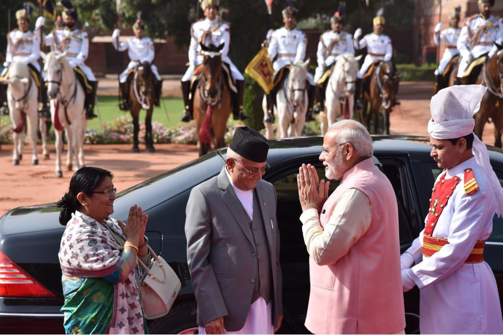 Indian Prime Minsiter Narendra Modi greets his Nepali counterpart KP Sharma Oli and spouse Radhika Shakya at the Rastrapati Bhavan in New Delhi, India, on Saturday, April 7, 2018. Photo: MEAIndia Twitter