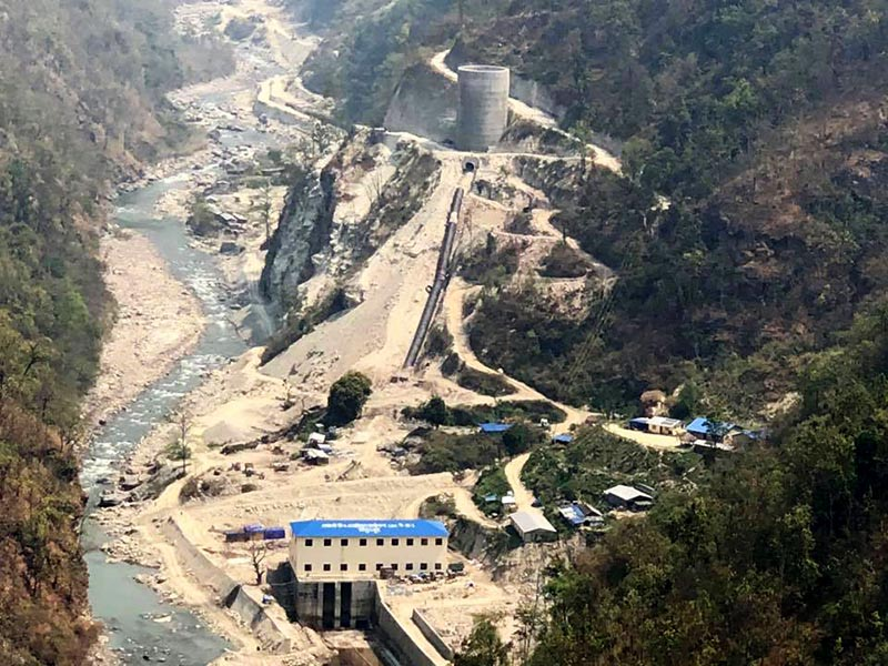 Powerhouse of Kabeli B1 project on the border between Taplejung and Panchthar, on Saturday. Photo: THT