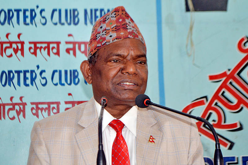 Lal Babu Pandit, Minister for Federal Affairs and Local Development, speaking at an interaction programme in kathmandu, on Sunday, April 15, 2018. Courtesy: Reporters Club