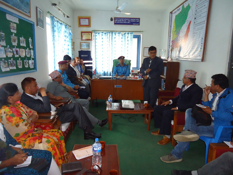 District stakeholders at an interaction programme on 'rape crime investigation and control campaign, 2074' organised by the District Police Office, in Lamjung, on April 10, 2018. Photo: Ramji Rana