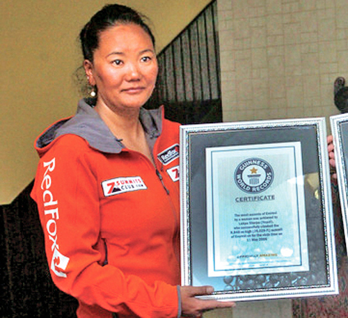 Lhakpa Sherpa poses for a photo after being felicitated in Kathmandu, on Friday, May 27, 2016. Photo: THT