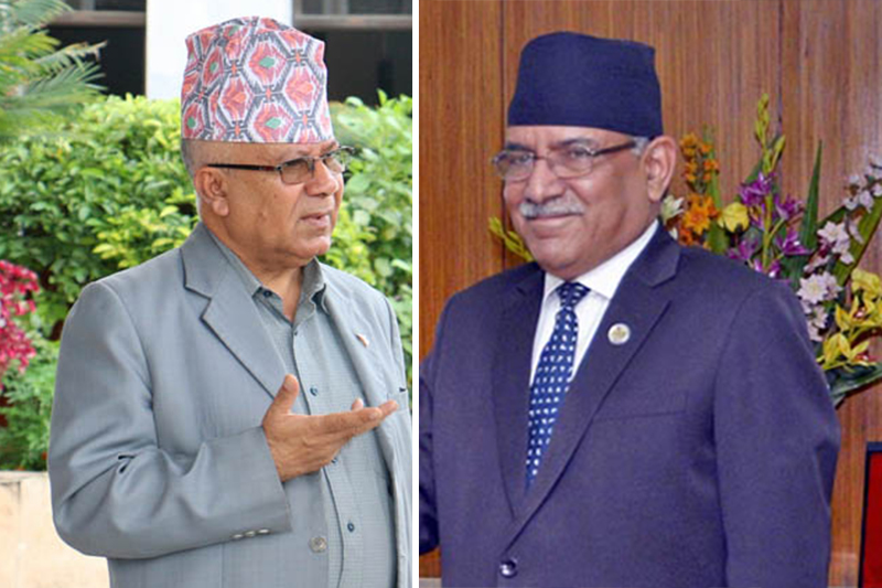 This combo image shows former prime minister duo Madhav Kumar Nepal (left) of CPN-UML and Pushpa Kamal Dahal of CPN Maoist Centre. Image: THT Online