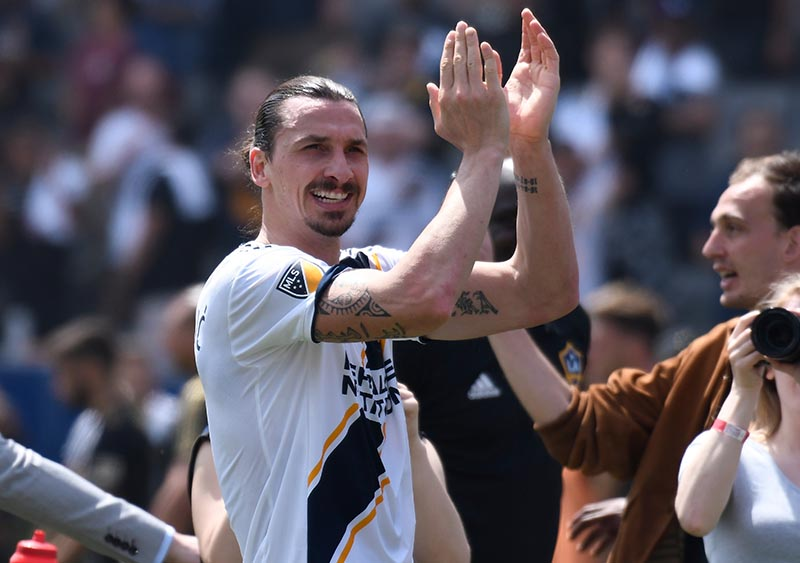 Los Angeles Galaxy forward Zlatan Ibrahimovic (9) claps after leading the Galaxy to a 4-3 win over Los Angeles FC at StubHub Cente, in Carson, California, USA, on March 31, 2018. Photo: Robert Hanashiro-USA TODAY Sports via Reuters