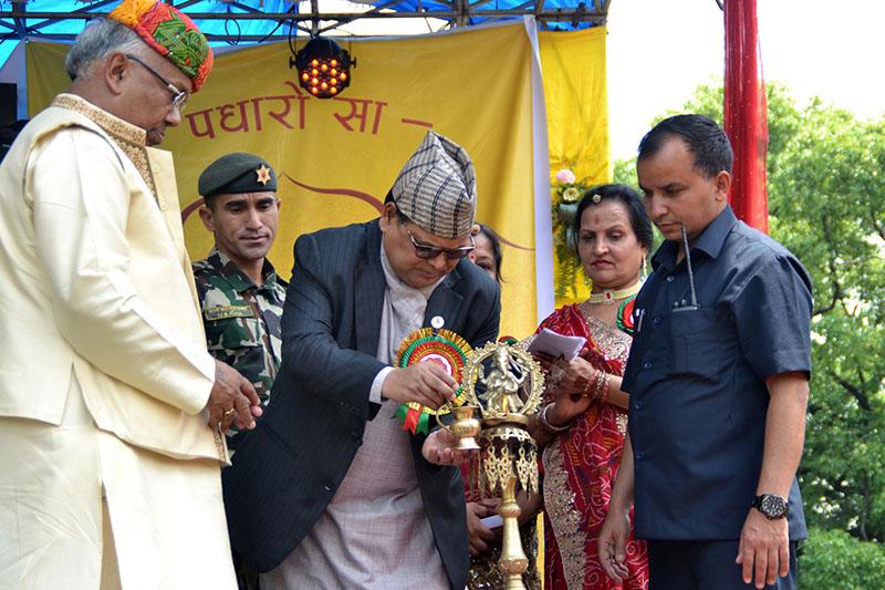 Speaker Krishna Bahadur Mahara inaugurating the Marwadi Festival organised by Jhapa Marwadi Society, in Kathmandu, on Saturday, April 28, 2018. Photo: RSS